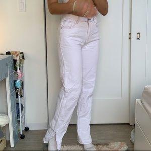 LIONESS White split hem jeans